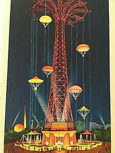 VTG-1939-New-York-World-039-s-Fair-Postcard-Parachute-Jump-Q1