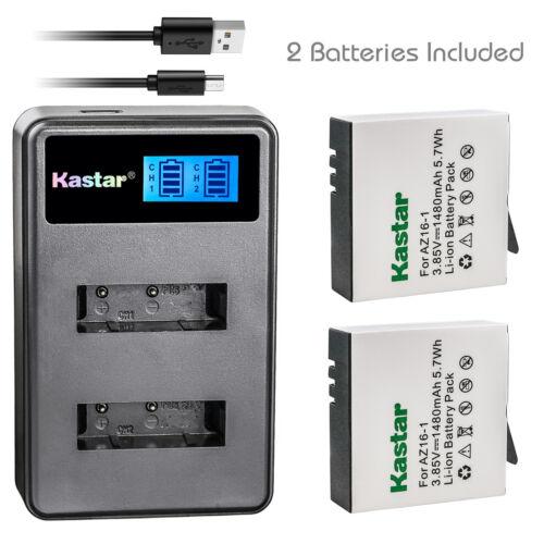 Cámara De Acción Kastar Batería Cargador LCD Dual para Xiaomi Yi 2 AZ16-1 /& Yi Lite