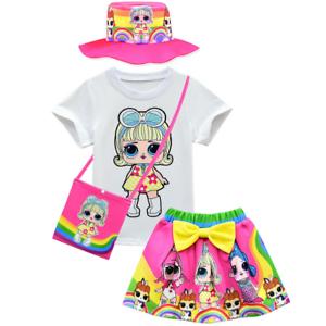 LOL Surprise Dolls Kids Girls Cartoon Short Sleeve T Shirt+Pleated Skirt Outfits