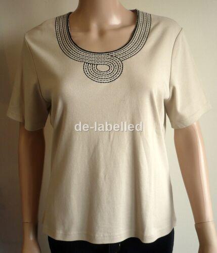 Ladies ex Chainstore E@stex Beige Cream Stone Short Sleeve Top Circle Design New