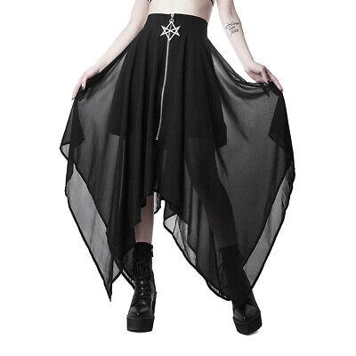 Sacred Sixx Chiffon Hexagramm Killstar Gothic Goth Okkult Boho Maxirock