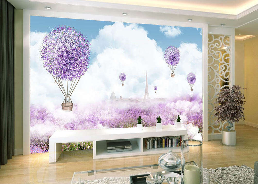 lila Flowers Sea 3D Full Wall Mural Photo Wallpaper Printing Home Kids Decor