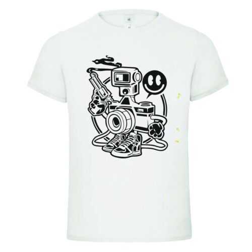CAMERA SHOOTER smiley face photographer gun  funny t-shirt TEE birthday gift dtg