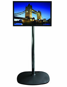 BLACK-Base-Chrome-Pole-TV-Monitor-1-5m-Stand-For-Screens-up-to-40-034-up-to-24kg