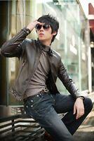 YZ08 New Mens Korean Version of the Slim Fit Leather PU Mens jacket Coat