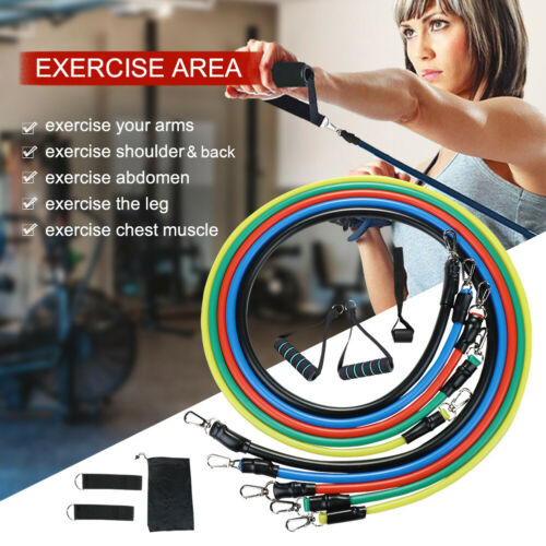 11-Pieces Resistance Fitness Bands Expander Set Tube Gym Band Yoga Latex Workout