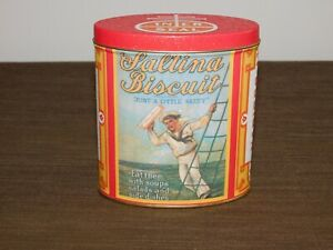 VINTAGE-KITCHEN-5-034-HIGH-NABISCO-INER-SEAL-SALTINA-BISCUIT-TIN-CAN-EMPTY