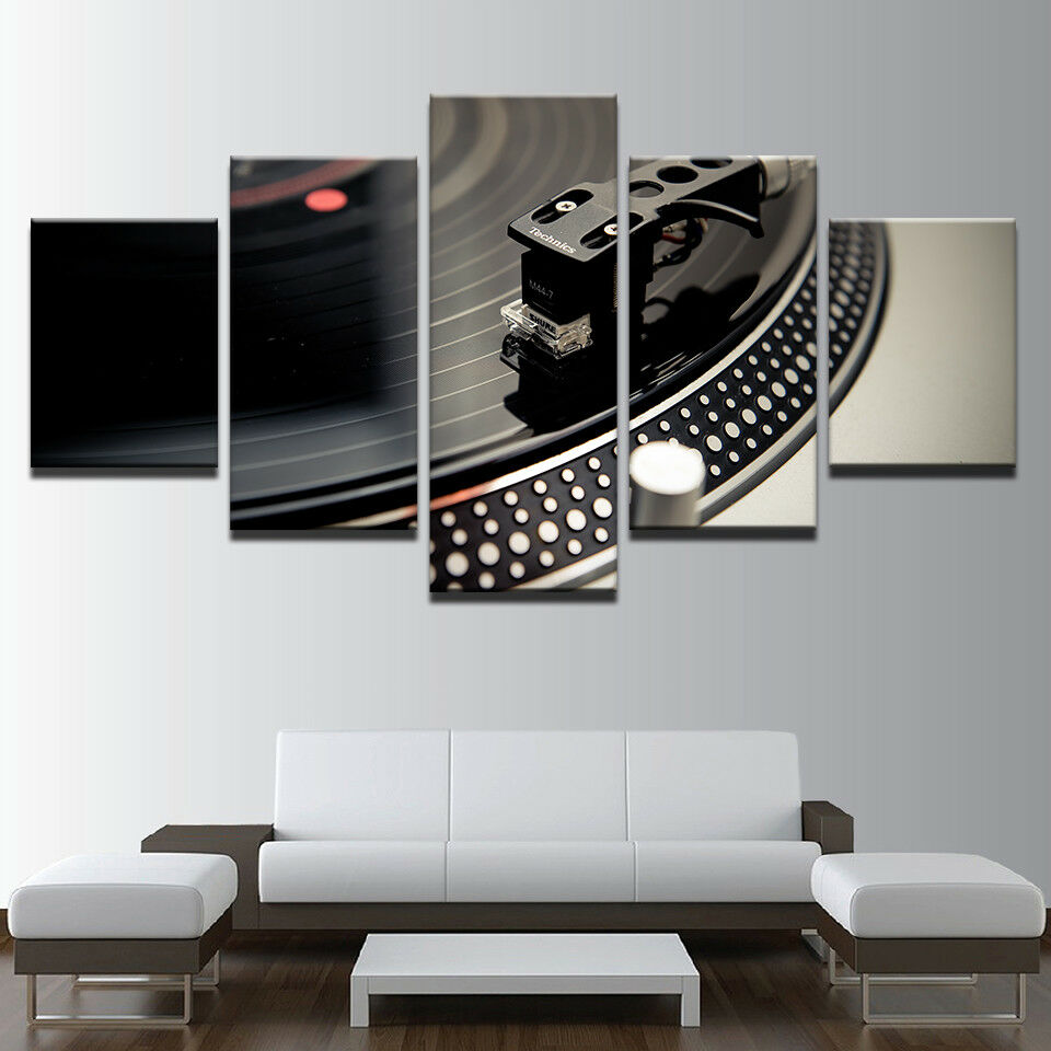 DJ Music Instrument Turntable 5 Panel Canvas Print Wall Art Poster