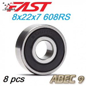 Pack of 10 ABEC-9 Skateboard Bearings 608RS 8x22x7 Rubber Sealed Red//Black