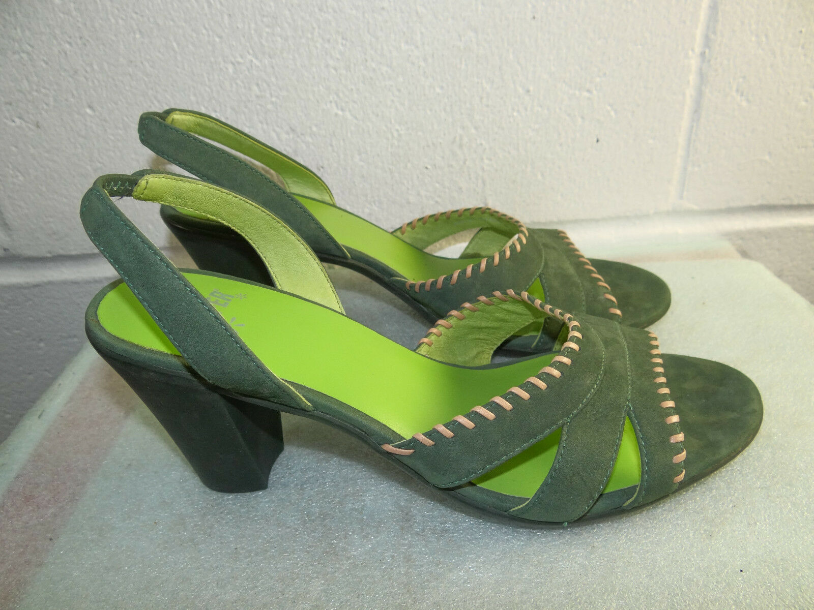 CAMPER Green Leather Slingback Heel Sandals Women Size 39 9M