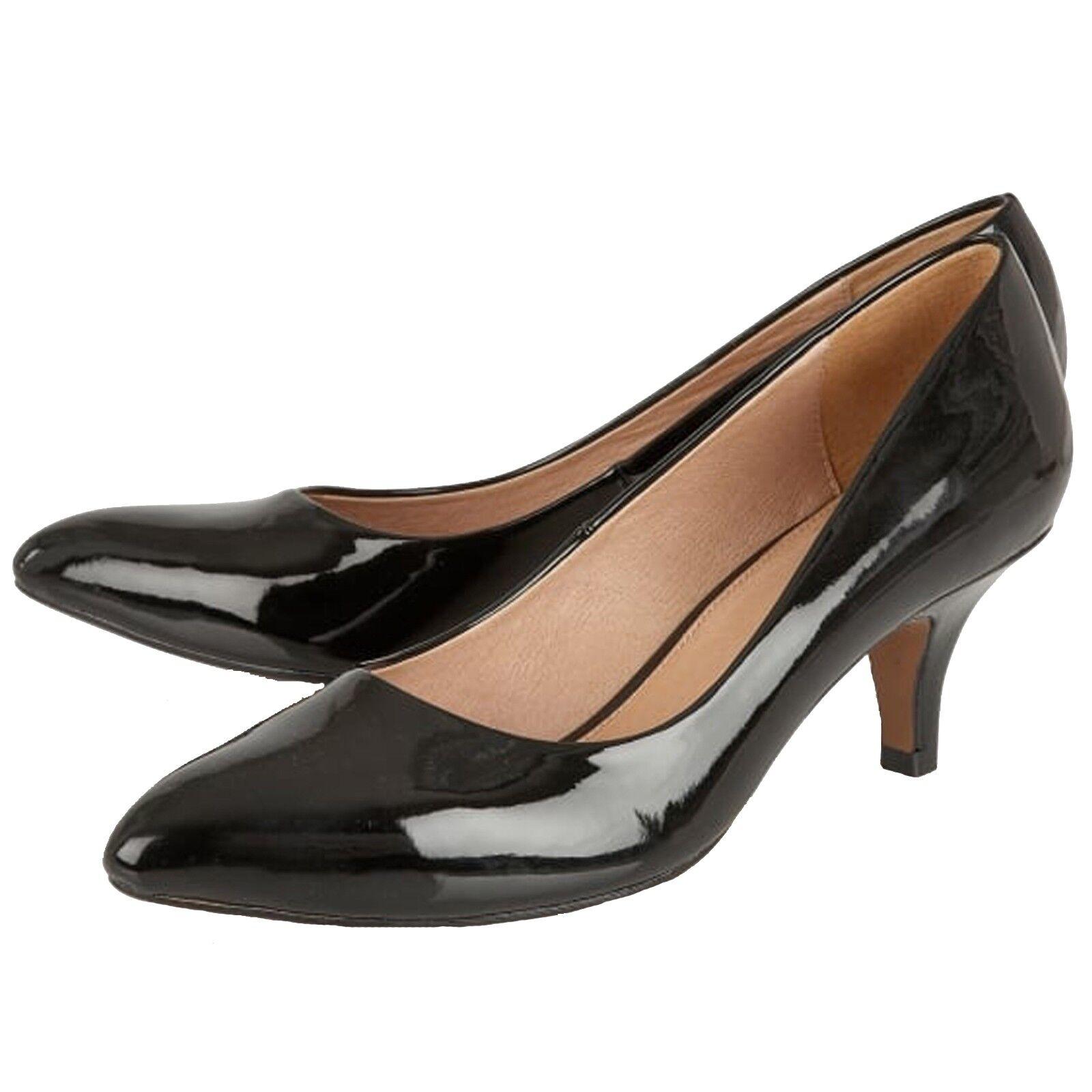 LADIES LOTUS CLIO BLACK PATENT LOW HEELED Schuhe COURT Schuhe HEELED ULS028 833e8e
