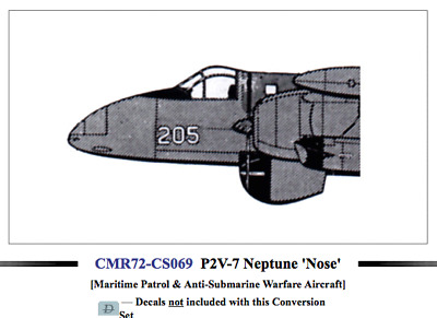 No Deca Czech Master Resin 1//72 Lockheed P2V-7B Neptune Fighter Nose Conversion
