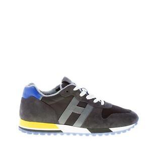 HOGAN-scarpe-uomo-Sneaker-H383-in-camoscio-e-tessuto-grigio-antracite-piu-nero
