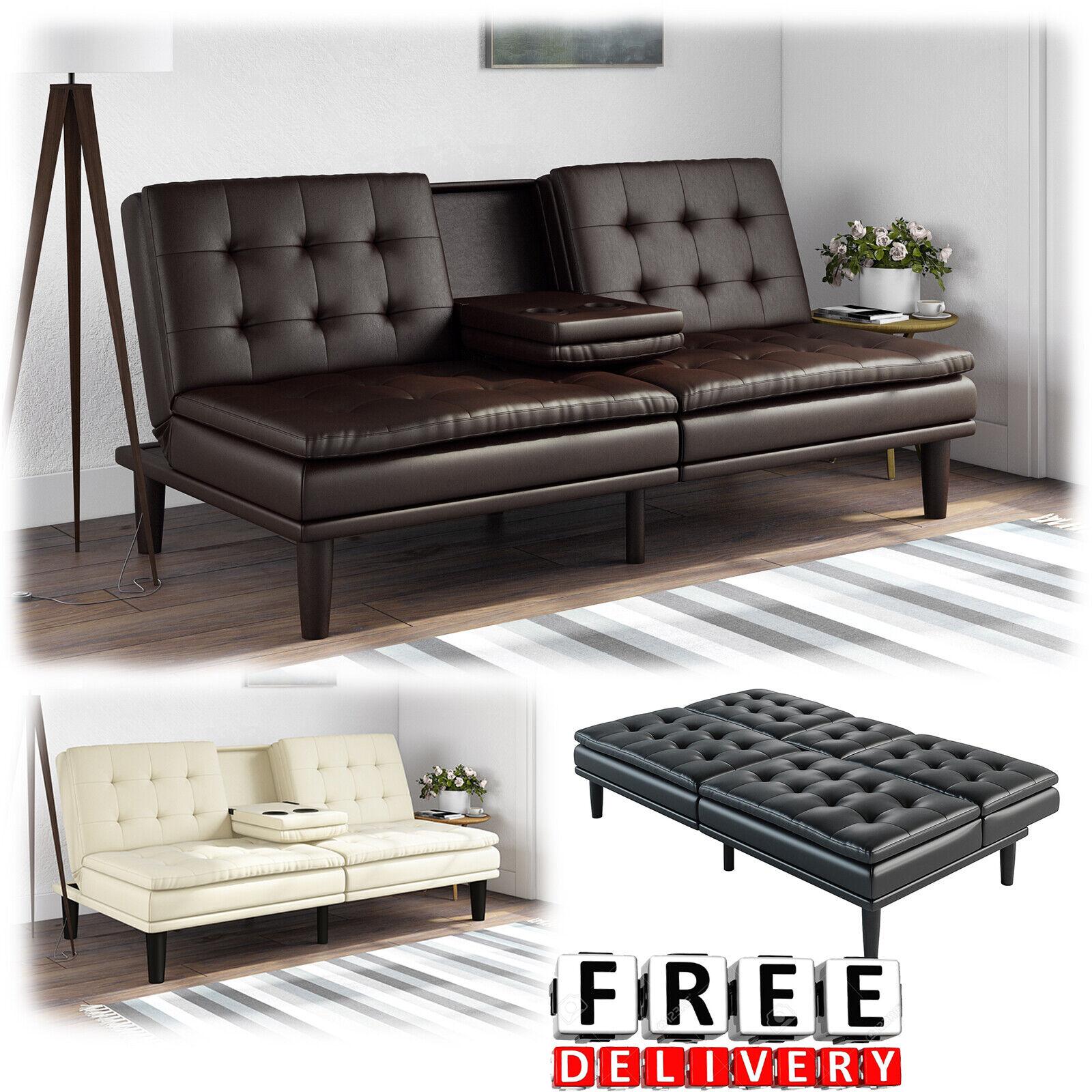 Modish Faux Leather Convertible Sofa