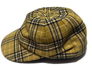 NEW-NEW-amp-LINGWOOD-MEN-039-S-YELLOW-PLAID-WOOL-HAT-WITH-PLEAT