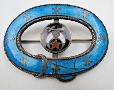 Pin Brooch GUILLOCHE Enamel ANTIQUE Sterling Silver