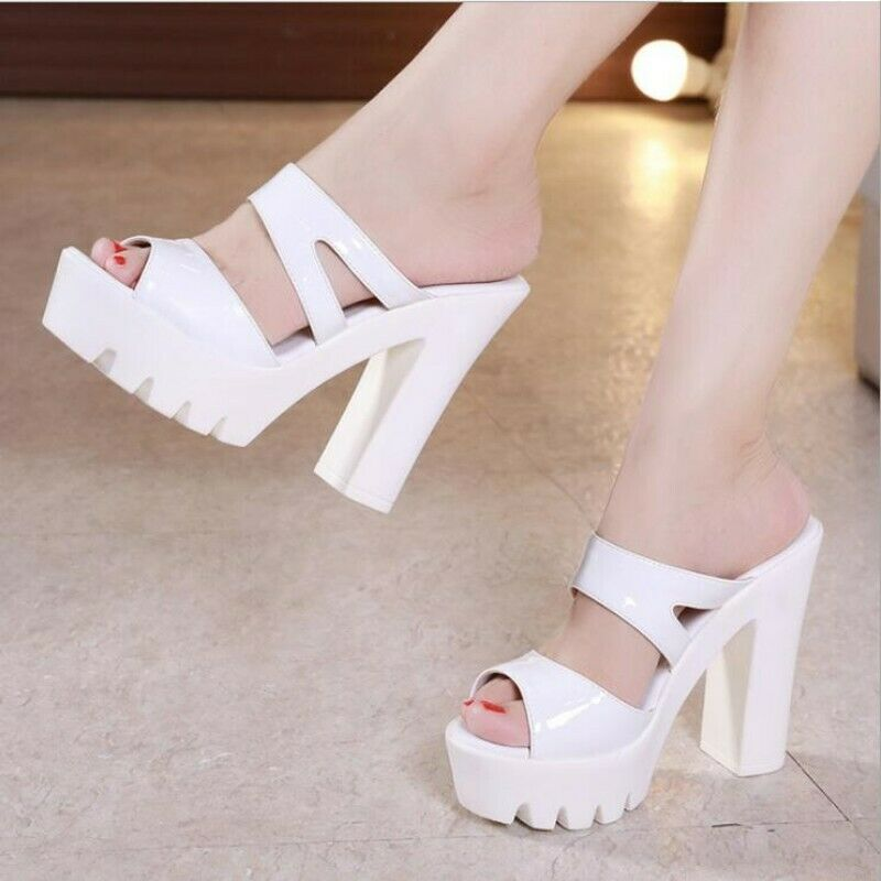 donna 14cm Thick High Heel Cut out Peep Toe Summer Seals Slipper Casual Party