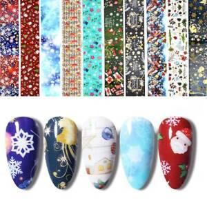 10PC-CHRISTMAS-Nail-Art-Foils-Nail-Transfer-Foil-Wraps-Decal-Glitter-Sticker-Set