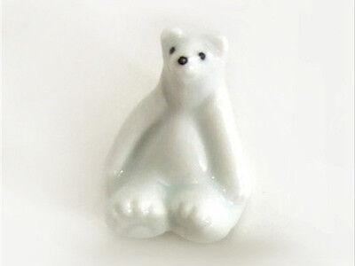 2 PCS. Japanese Ceramic White Polar Bear Animal Chopstick Rest, Made in Japan