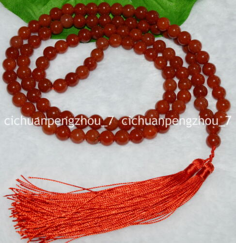8mm Natural Red Agate Chalcedony Tibet Buddhist 108 Prayer Beads Mala Necklace