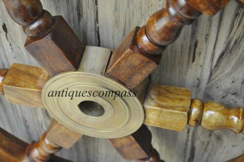 "18/""Nautical Wooden Ship Wheel Pirate Decor Steering Wood Brass Fishing Wall Boat"