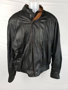 Vtg-Men-039-s-Remy-Double-Collar-Leather-Bomber-Jacket-Saks-Fifth-42-Black-Brown-USA