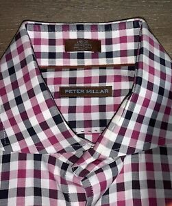 Awesome-Peter-Millar-Men-s-Large-Button-Down-Cotton-Plaid-Shirt-Casual-Or-Golf
