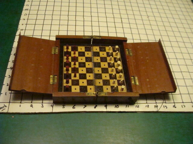 Vintage original early travel CHESS SET folds up, early, as found.  SO COOL