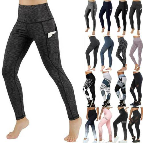 Women Sport Yoga Pants High Waist Gym Fitness Compression Leggings Trouser Tight
