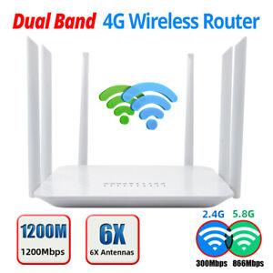 1200Mbps 3G/4G/5G LTE Wifi Router Dualband Modem Mobile Hotspot Unlock SIM Card