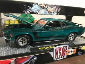 M2 machines 1:24 detroit muscle 1970 ford mustang boss 302 teal.   Nib