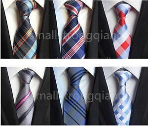 Classic-Mens-JACQUARD-WOVEN-stripe-Silk-Tie-Necktie-Wedding-Party-Usher-gifts