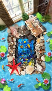 3D Pretty Flowers Sea 92 Floor WallPaper Murals Wall Print Decal AJ WALLPAPER US