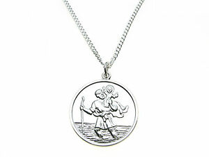 925-Sterling-Silver-man-039-s-St-Christopher-amp-curb-link-necklet-chain-to-match