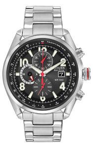 Citizen Eco-Drive Men's Chandler Chronograph Black Dial Watch 45mm CA0368-56E
