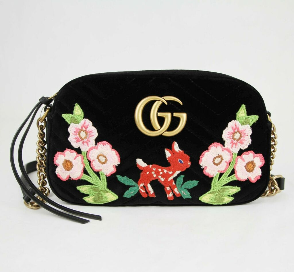 Gucci Marmont Black Quilted Velvet Floral Embroidered Crossbody Chain Bag 447632    eBay