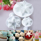 3x Snowflake Cookies Biscuit Cake Decorating Plunger Cutter Sugarcraft Mold Tool