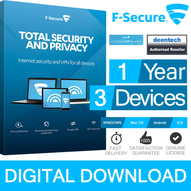 F-SECURE TOTAL Security & Privacy (1Year/3PCs) Devices Genuine Authentic License