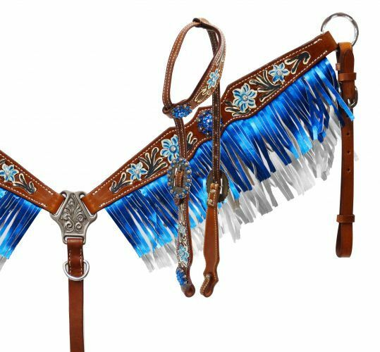Hand Painted Headstall & bluee Metallic Fringe Breast Collar Set with Reins NEW