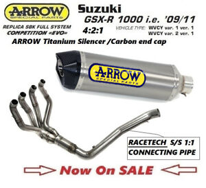 Details about Suzuki GSXR1000 09 K9 10 K10 11 K11 full sys EVO Arrow 4:2:1  titanium silencer