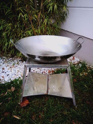 Feuerschale Naturfarbe 50cm Pflanzschale mit H36cm Staender Gartendeko Metall