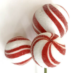 Details About Red White Striped Peppermint Ball Candy Christmas Pick Tree Wreath Decor