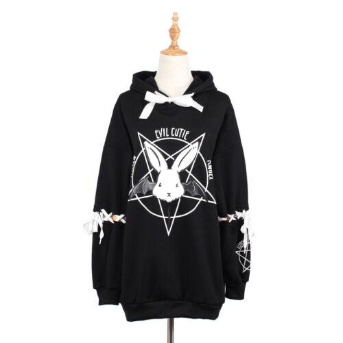 Women Hooded Sweatshirt Rabbit Pentagram Printed Casual Hoodies Lace Up Loose