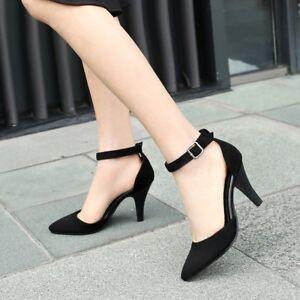 cdbd15d01b0c Women  s Retro Kitten Heels Pointed Toe Party Dress Pump Ankle Strap OL Shoes  Hot