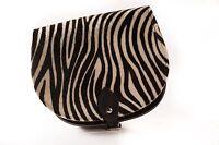 Ladies Zebra Print Fur Saddle Cross Body Satchel Handbag Buckle Adjustable Strap