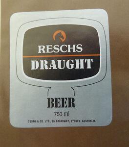 VINTAGE-AUSTRALIAN-BEER-LABEL-RESCHS-DRAUGHT-BEER-750-ML