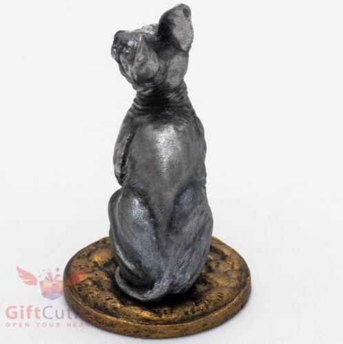 Tin Pewter Figurine of Sphynx Cat Kitty Kitten IronWork