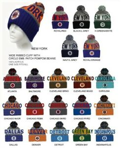 CITY NAME KNIT BEANIE HATS POM POM TOBOGGAN WINTER TEAM COLORS WITH ... e9c4f13d7ae
