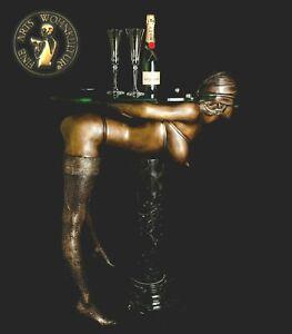 Bronze-Skulptur-Figur-Devote-Bondage-Lady-Erotik-Konsol-Table-Tisch-Statue-Luxus