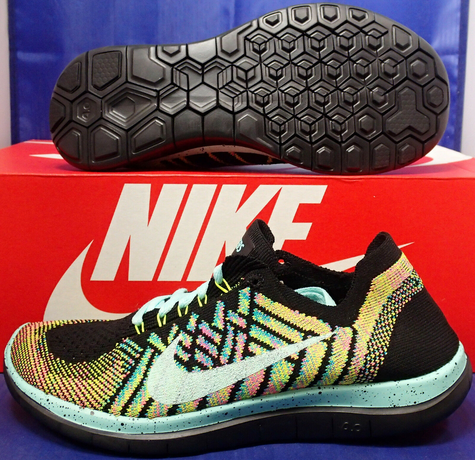 Womens Nike Free Flyknit iD 4.0 Multi-Color SZ 5 Wide ( 653689-006 )